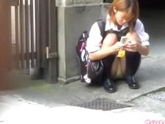Money shot sharking scene of phenomenal schoolgirl receiving fresh jizz