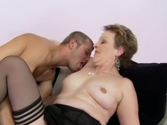 Mature cock-lover begs a young stud to nail her to completion