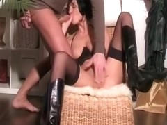 Gorgeous and kinky brunette wife gives her man a blowjob