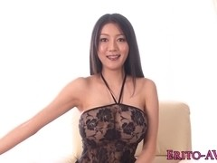 Busty asian model fucked closeup in lingerie