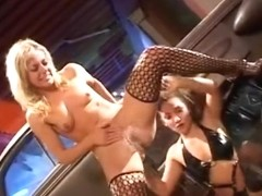 Roxy Jezel and Angela Stone Shove things in Their Squirt Holes...