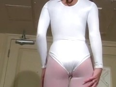 Kiera King Stretches in a Tight Bodysuit and Pantyhose