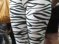 Public cameltoe in skintight zebra pants