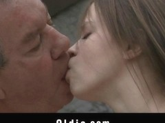 Cute teen is sucking old man-s dong poison
